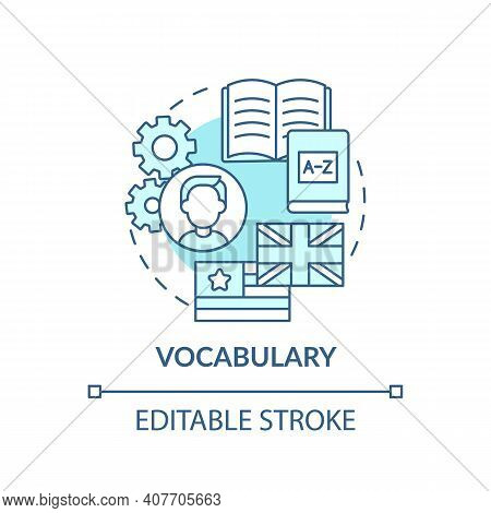 Vocabulary Concept Icon. Language Learning Category Idea Thin Line Illustration. Tool For Communicat