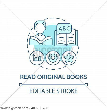 Reading Original Books Concept Icon. Learning Language Tip Idea Thin Line Illustration. Putting Voca