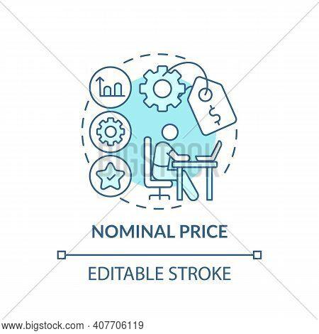 Nominal Price Concept Icon. Online Language Courses Benefit Idea Thin Line Illustration. Lower Price