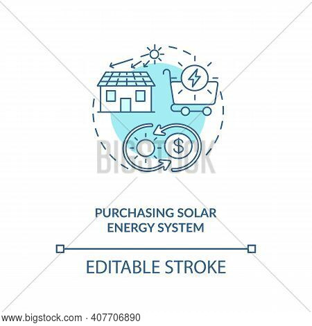 Purchasing Solar Energy System Concept Icon. No Needs Of Electricity Idea Thin Line Illustration. Ra