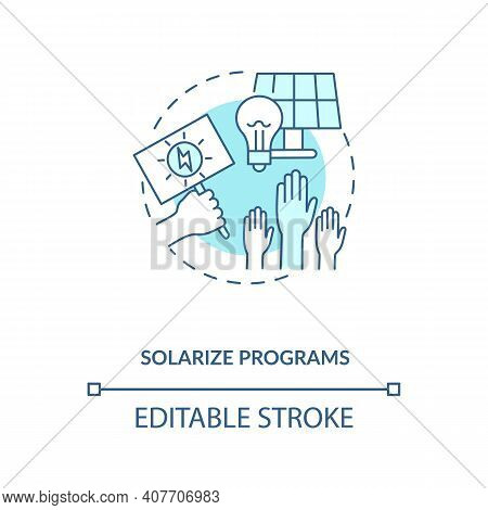 Solarize Programs Concept Icon. Selling Unused Electricity Idea Thin Line Illustration. Cheap Electr