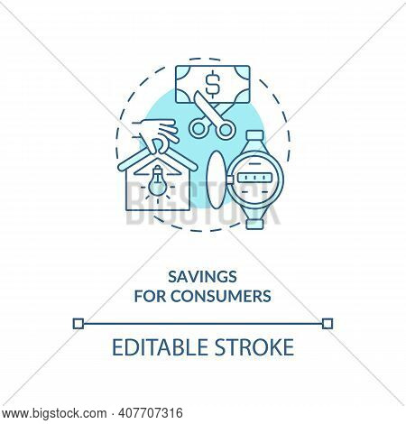 Savings For Consumers Concept Icon. Hydropower Generation Idea Thin Line Illustration. Renting Elect