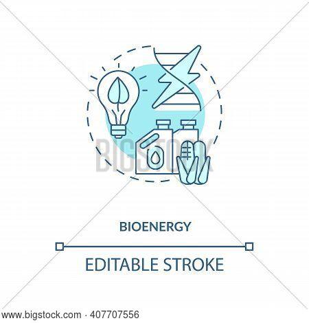 Generate Electricity With Steam Turbine Concept Icon. Bioenergy Idea Thin Line Illustration. Biochem