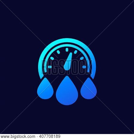 Water Consumption Icon With Meter On Dark