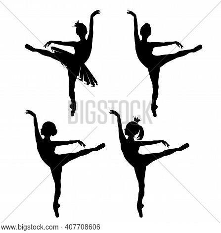 Beautiful Ballerina Girl Wearing Tutu Dress And Princess Crown - Black And White Vector Silhouette O