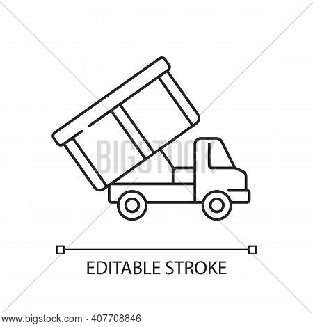 Roll-off Truck Linear Icon. Open Top Dumpster. Organizational Clear Outs. Disposal Option. Thin Line