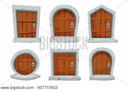 Set Wood Doors With Stone Decoration, Arch In Cartoon Style Isolated On White Background. Fairy, Mys