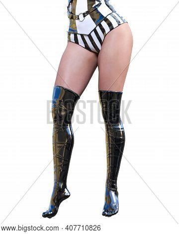 3d Beautiful Sexy Woman Legs Black Latex Corset Stocking.minimalist Extravagant Clothes.woman Studio