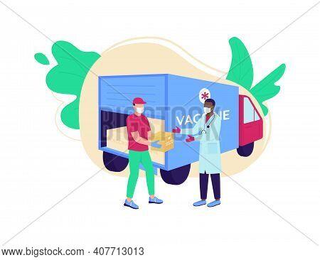 Vaccine Delivery Flat Concept Vector Illustration. Covid Drug Distribution. Medication Shipment. Cou