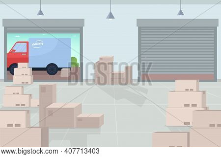 Logistic Warehouse Flat Color Vector Illustration. Movements Of Goods And Information Within Warehou
