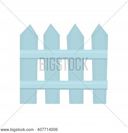 Wooden Blue Picket Fence. Vector Illustration. Isolated On White Background.