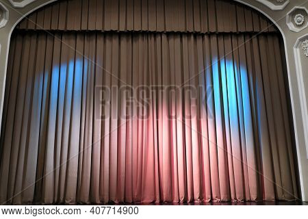 Details Of Theater Stage With Curtain