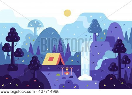 Vector Cartoon Panorama Illustration - Background For Summer Camp, Nature Tourism, Camping Or Hiking