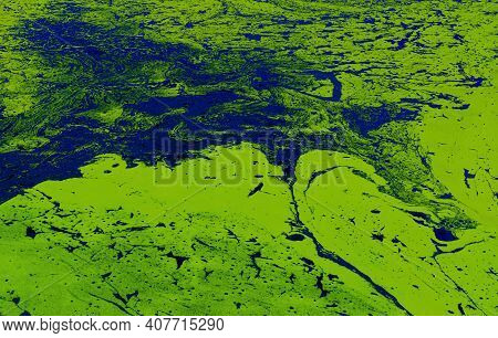 Abstract Patterns Of Flowing Water Masses On Ukrainian River Dnepr Covered By Cyanobacterias As A Re