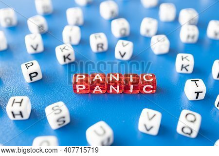 Red Cubes With The Word Panic Around Them White Cubes With Letters, The Inscription Panic From Toy C