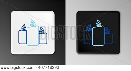Line Burning Candles Icon Isolated On Grey Background. Old Fashioned Lit Candles. Cylindrical Aromat