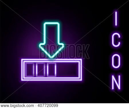 Glowing Neon Line Loading Icon Isolated On Black Background. Download In Progress. Progress Bar Icon