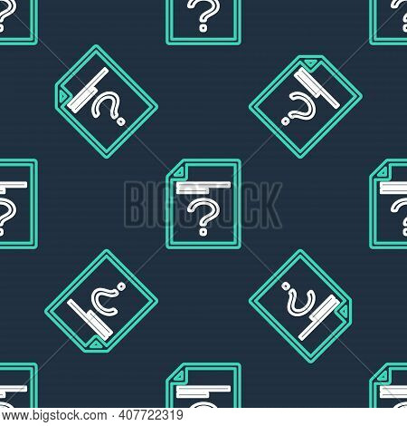 Line Unknown Document Icon Isolated Seamless Pattern On Black Background. File With Question Mark. H