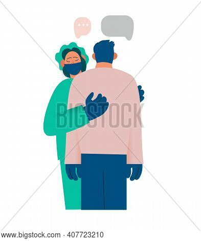 Healthcare Worker Supports And Comforts The Patient, Compassion, Reports Something Sad. Real Emotion