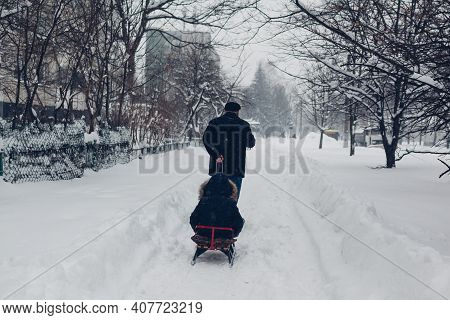 Grandfather Pulling Sleigh With Little Boy On City Street Among Snow During Snowfall. Winter Outdoor