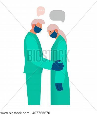 Healthcare Worker Supports And Comforts The Patient, Expresses Sympathy, Reports Something Sad. Real