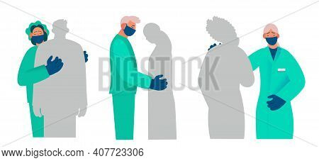Healthcare Workers Supports And Comforts The Patient, Compassion, Reports Something Sad. Real Emotio