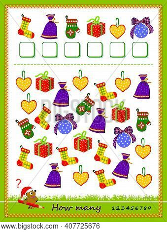Math Education For Children. Count Quantity Of Christmas Gifts And Write Numbers. Developing Countin