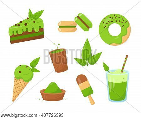 Sweet Set Of Desserts Made From Matcha. Tea, Cake, Donut And Icecream. Vector Illustrations Isolated