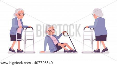Old Woman, Elderly Person With Medical Walker, Cane Slippery. Senior Citizen, Retired Grandmother In