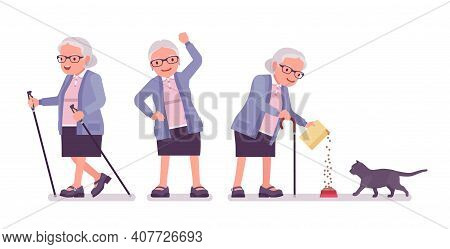 Old Man, Elderly Person With Nordic Walking Poles, Cat. Senior Citizen, Retired Grandmother Wearing