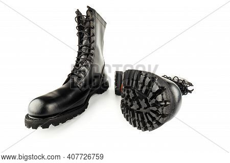 Pair Of Black Leather 10-inch New Black Military Combat Boots, Isolated On White Background