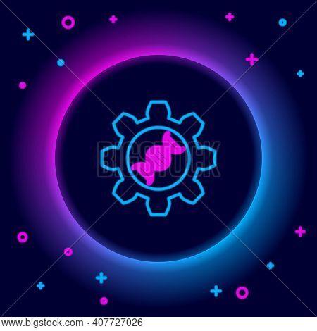 Glowing Neon Line Genetic Engineering Icon Isolated On Black Background. Dna Analysis, Genetics Test