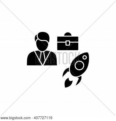 Career Improvement Glyph Icon. Personal Growth Concept. Self Improvement And Self Realization. Caree