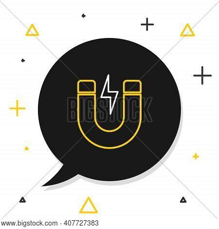 Line Magnet With Lightning Icon Isolated On White Background. Horseshoe Magnet, Magnetism, Magnetize