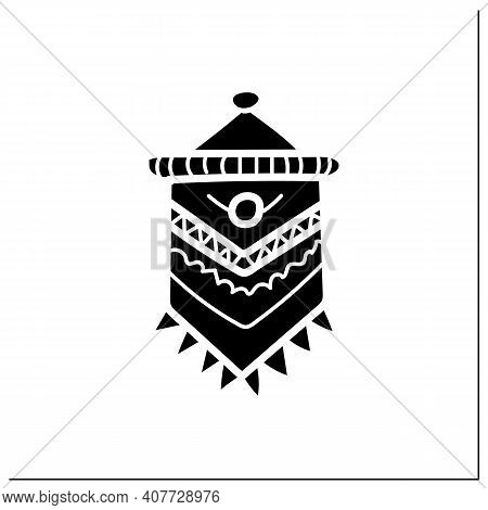Macrame Glyph Icon. A Form Of Textile-making Using Knotting. Modern Home Element, Hygge Style, Scand