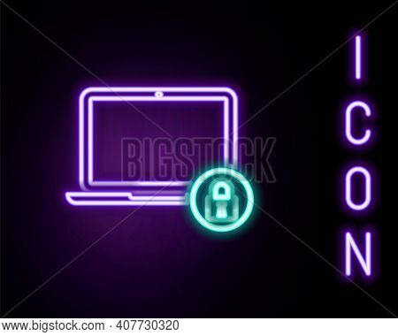Glowing Neon Line Laptop And Lock Icon Isolated On Black Background. Computer And Padlock. Security,