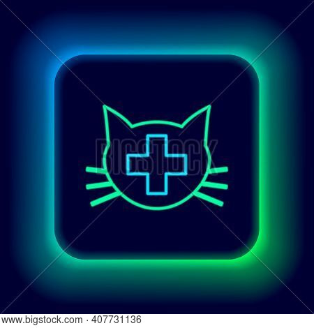 Glowing Neon Line Veterinary Clinic Symbol Icon Isolated On Black Background. Cross With Cat Veterin