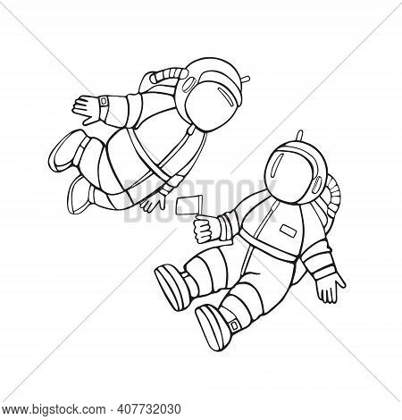 Two Children Of An Astronaut. Cartoon Linear Vector Hand Drawing Icons Isolated On White Background.