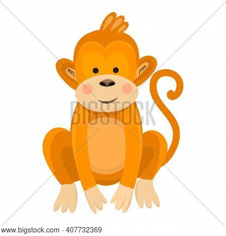 Cute Funny Cartoon Baby Monkey On White Isolated Background. Vector Illustration Of A Monkey In A Fl