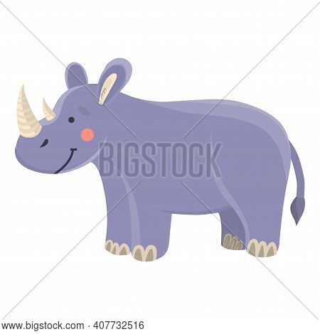 Cute Funny Cartoon Rhinoceros On A White Isolated Background. Vector Illustration Of A Lynx In A Fla