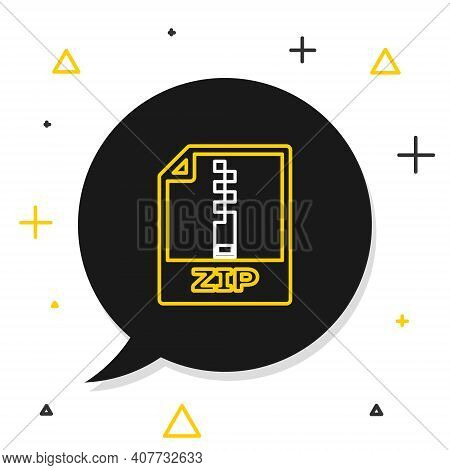 Line Zip File Document. Download Zip Button Icon Isolated On White Background. Zip File Symbol. Colo