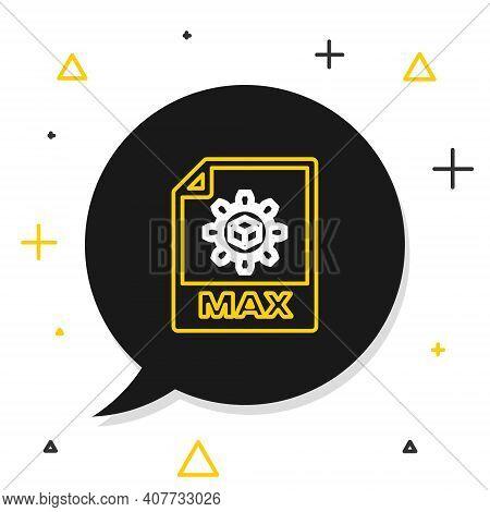 Line Max File Document. Download Max Button Icon Isolated On White Background. Max File Symbol. Colo