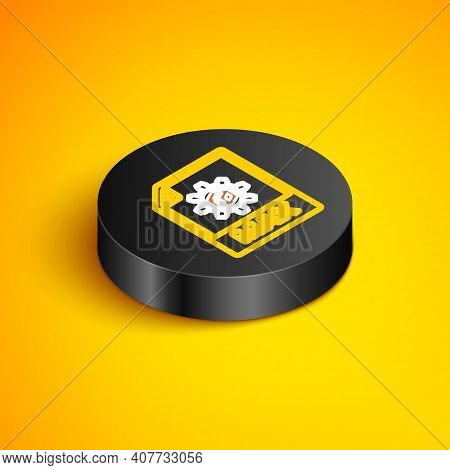 Isometric Line Max File Document. Download Max Button Icon Isolated On Yellow Background. Max File S