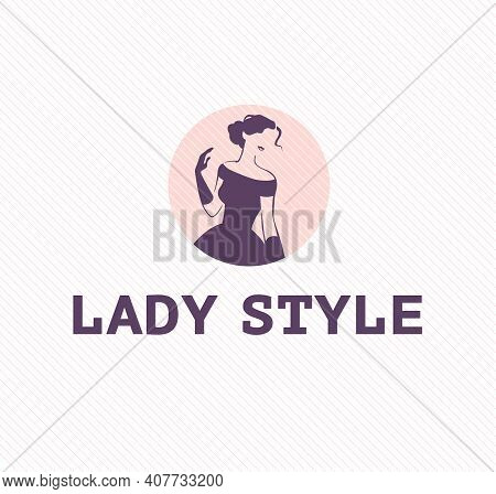 Lady Style Emblem Design Template Isolated On Light Background. Stylish Lady In Evening Dress And Gl