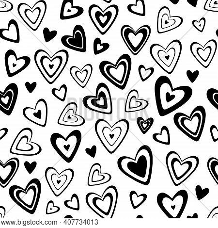 Seamless Vector Pattern. Many Different Black And White Hearts In A Scatter Isolated On A Transparen