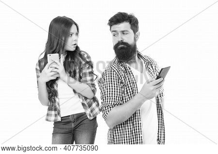 Privacy Concept. Privacy Online. Man Father And Little Girl Daughter With Smartphones. Leading With