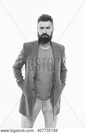 Comfortable Outfit. Modern Outfit. Stylish Casual Outfit. Menswear And Fashion Concept. Man Bearded
