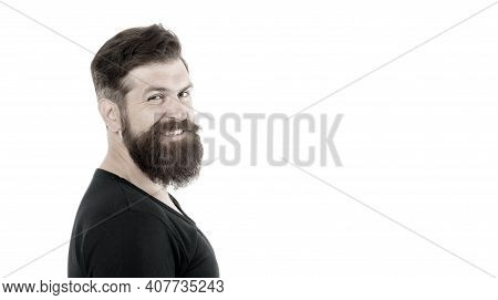 Smiling Macho. Barber Shop Concept. Man Bearded Hipster With Mustache. Beard Mustache Grooming Guide