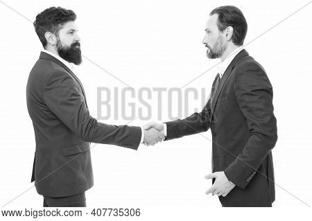 Nice To Meet You. Brief Greeting. Businessmen Shake Hands Isolated On White. Greeting Or Parting Ges