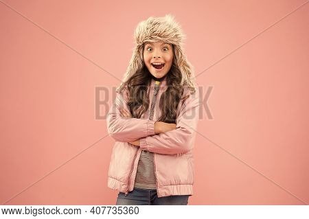 Soft Furry Accessory. Child Long Hair Soft Fur Hat Enjoy Softness. Winter Fashion Concept. Warm Hat